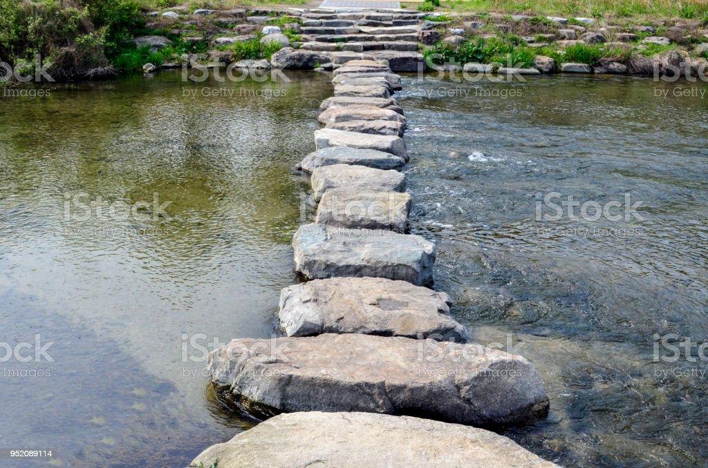 Stepping stones at the Jeonju-cheon stream in Jeonju, South Korea stock photo