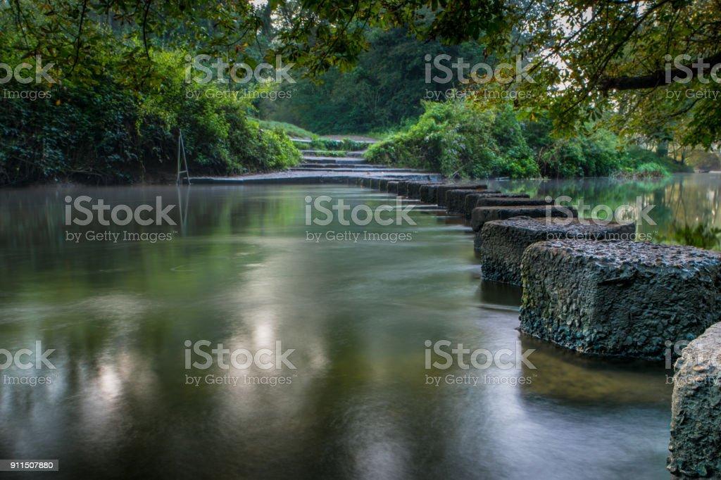 Stepping stones Boxhill Surrey England stock photo