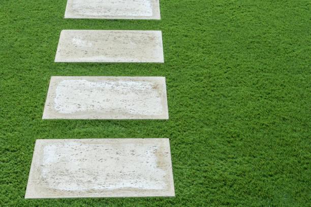 Trittsteine im üppigen grünen Rasen – Foto