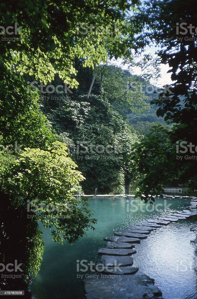 Stepping Stones Ojo de Agua Park El Salvador Central America stock photo