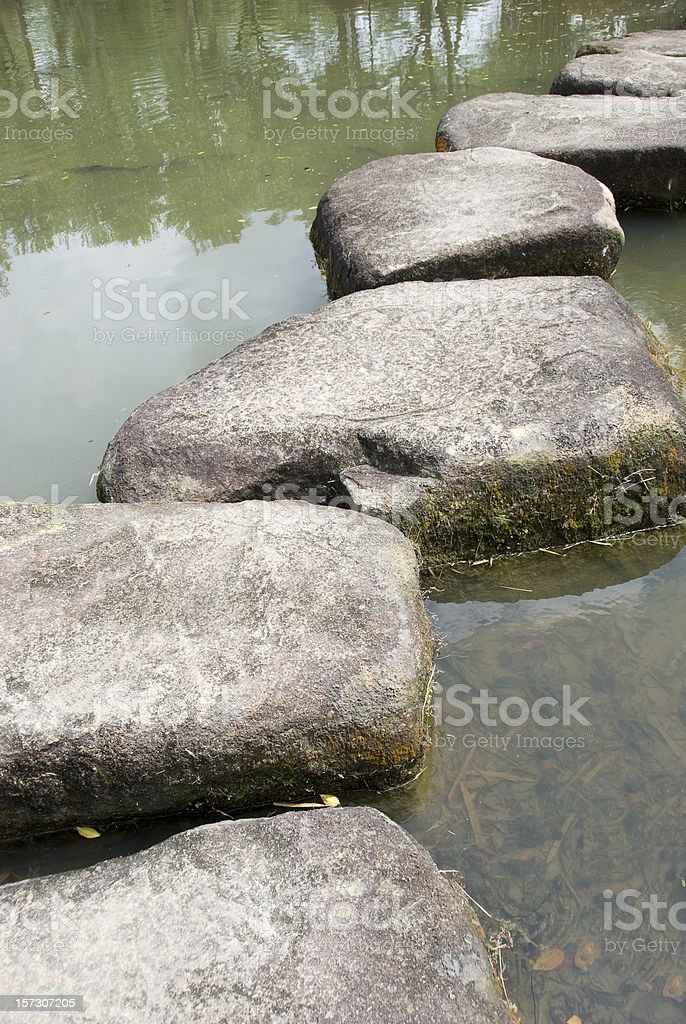 Stepping stones to cross a river royalty-free stock photo