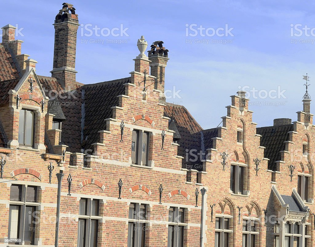 Step-roofed houses in Bruges royalty-free stock photo