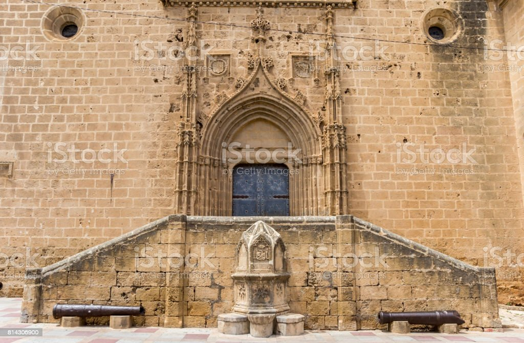 Steps and door of the church of Javea, Spain stock photo