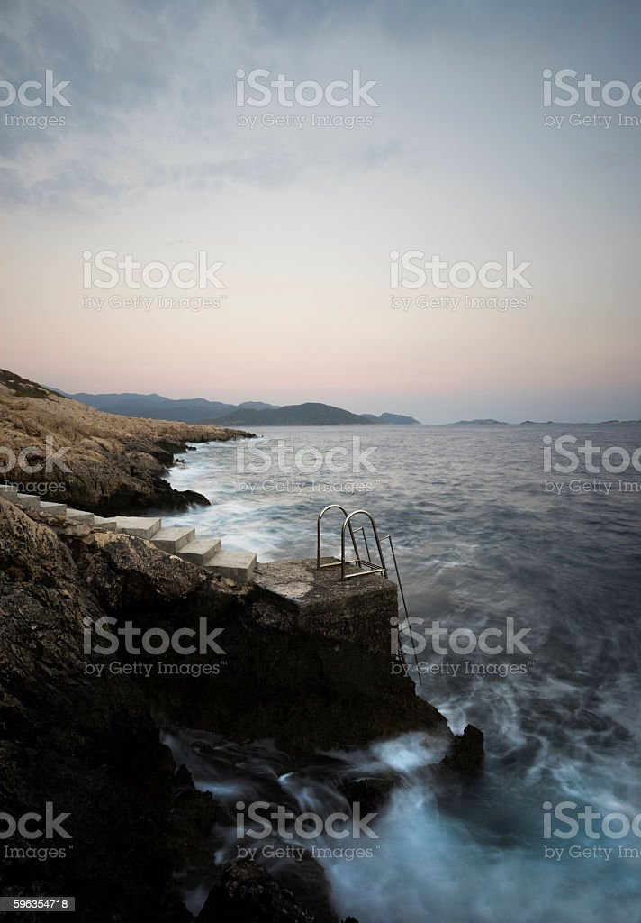 Steps and Path to Sea. royalty-free stock photo