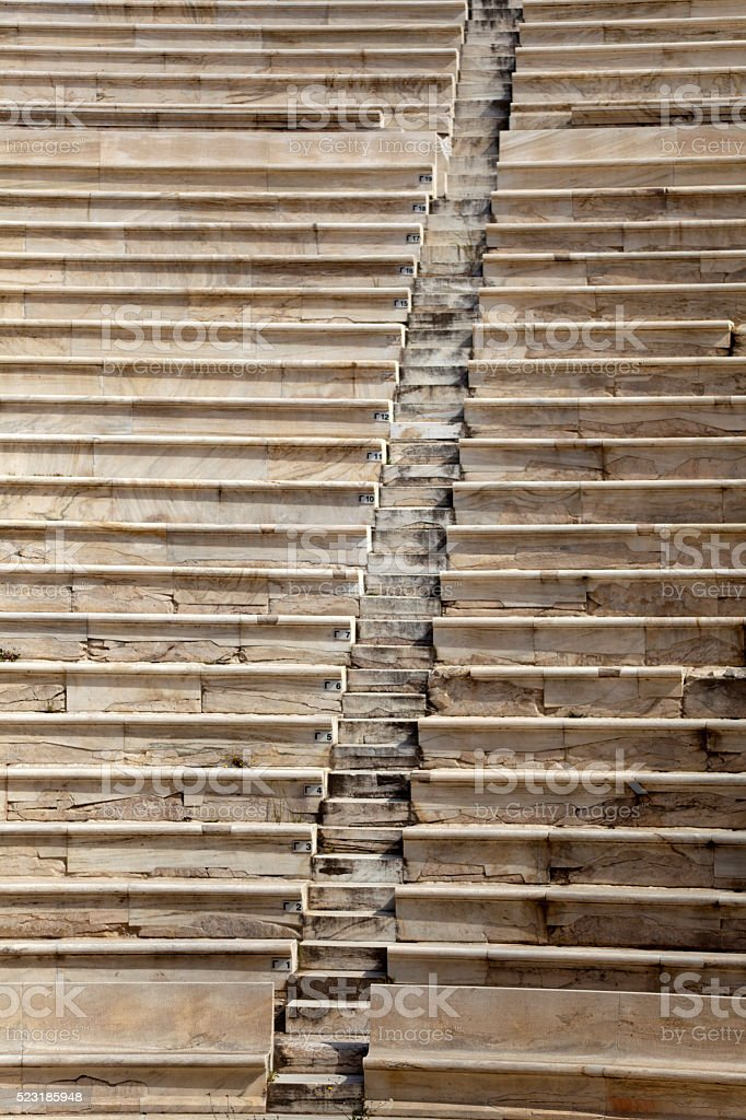 Steps and seats in an ancient Greek theater stock photo