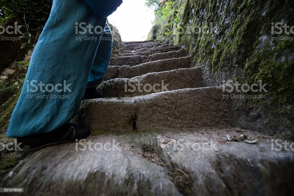 Steps and shoes stock photo