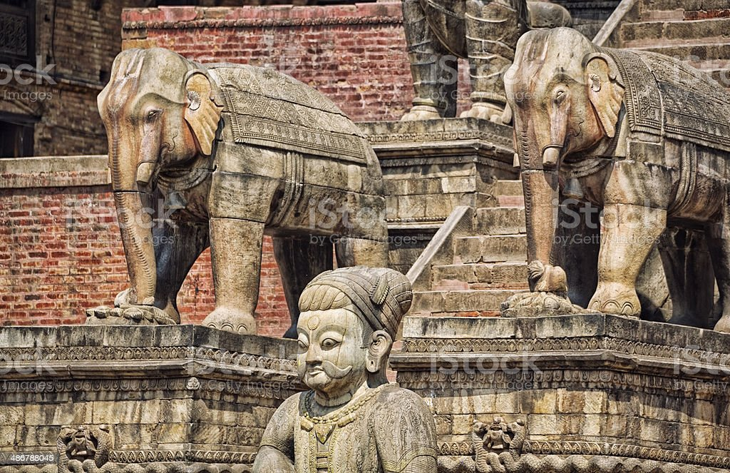 Steps and Statues of Fasidega Temple, Bhaktapur Durbar Square, Nepal stock photo