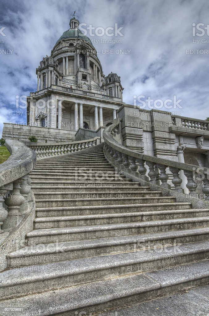 Steps at Ashton Memorial in Lancaster stock photo