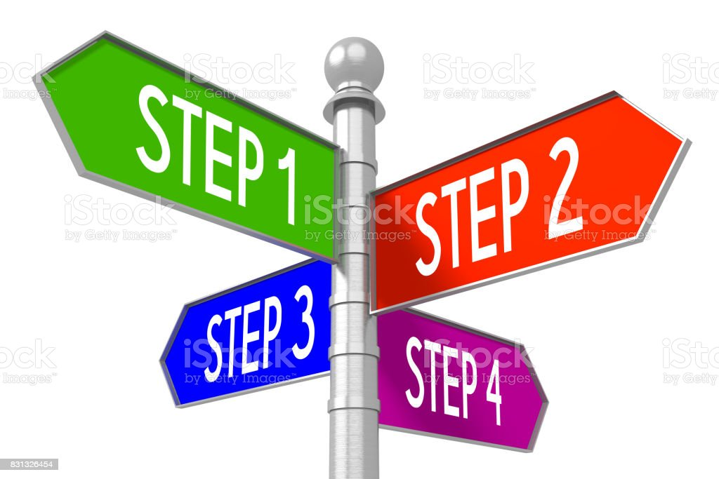Steps concept - colorful signpost stock photo