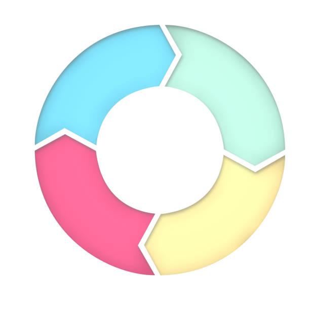 4 steps diagram for presentation background. 3D Rendering stock photo