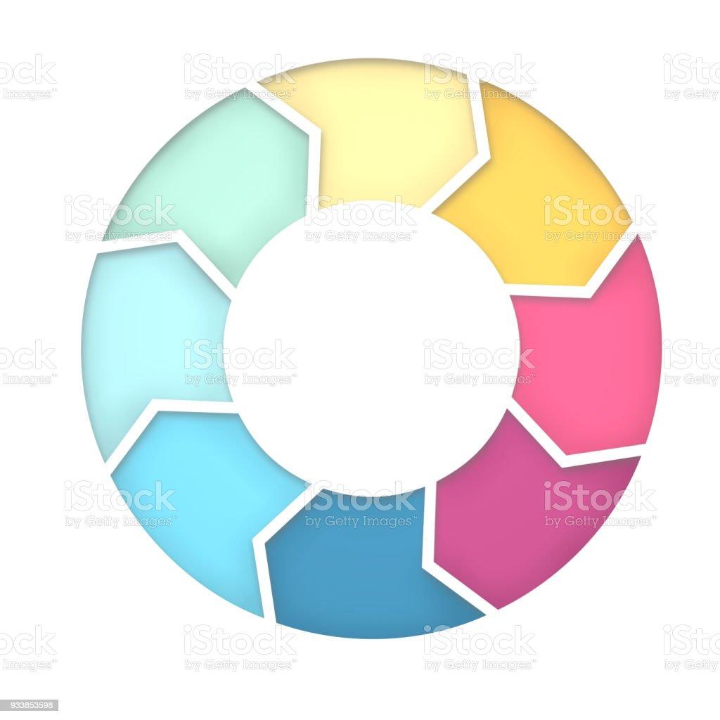 8 steps diagram for presentation background. 3D Rendering stock photo