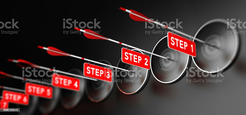 Steps for Achieving Goal stock photo