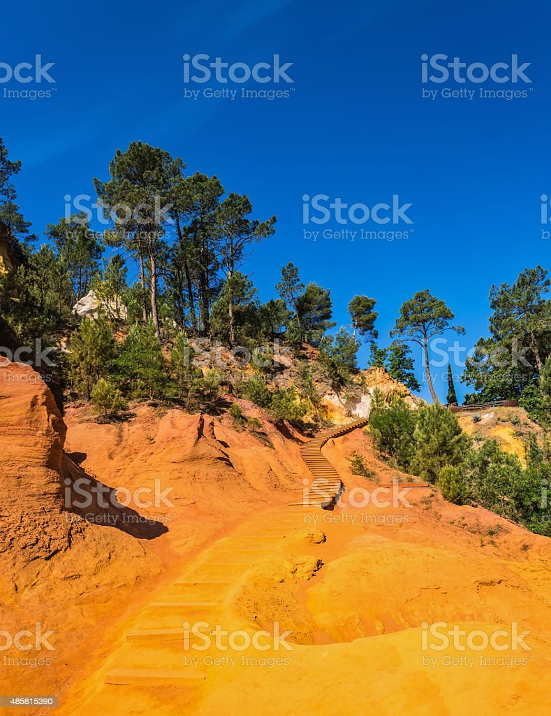 Steps for tourists on a steep slope stock photo