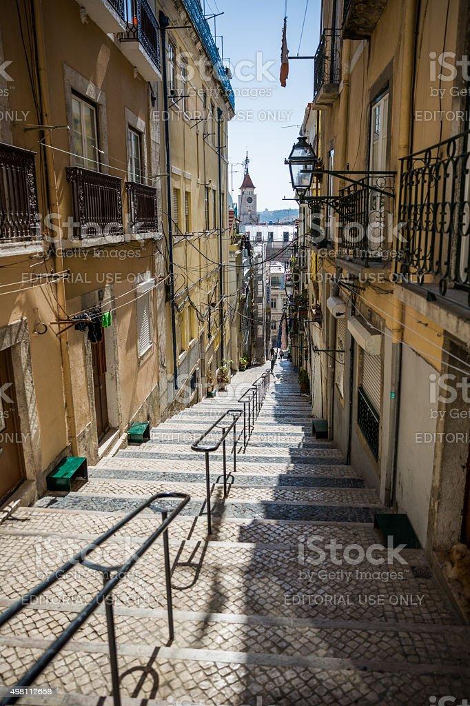 Steps from Bairro Alto to São Paulo, Lisbon, Portugal stock photo