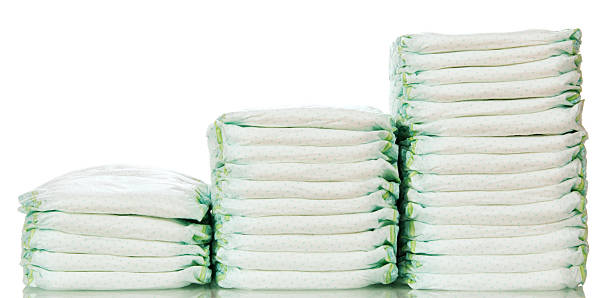 steps from different  stacks of diapers - stack rock stock pictures, royalty-free photos & images