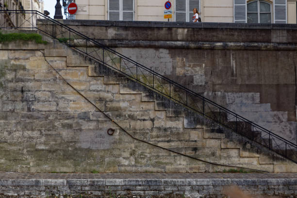Steps from the the Seine stock photo