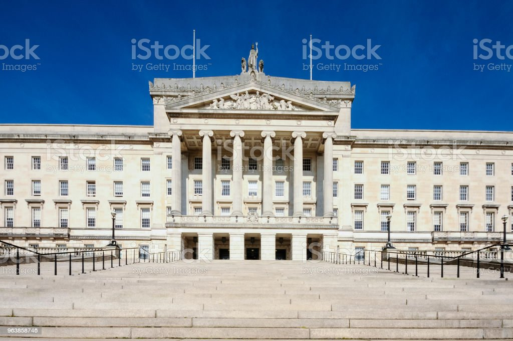 Steps leading up to Parliament Buildings, Stormont, Belfast, home of the Northern Ireland Assembly. - Royalty-free 1930 Stock Photo