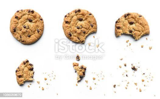 istock Steps of chocolate chip cookie being devoured. Isolated on white background. 1056059670