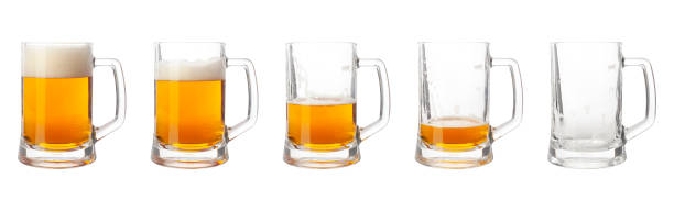 Steps of discharge glass of beer on white background. Drinking beer process Steps of discharge glass of beer on white background. Drinking beer process beer glass stock pictures, royalty-free photos & images
