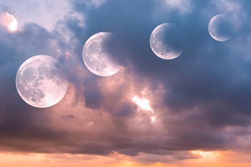 Steps of moon eclipse, lunar eclipse during sunrise, background