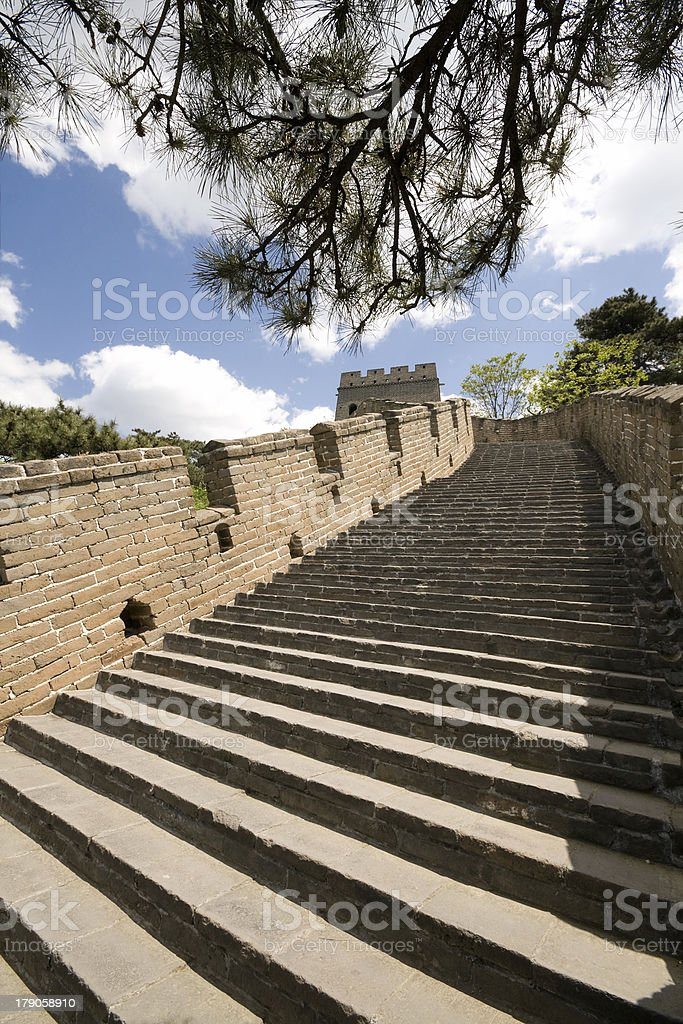 Steps of Restored Mutianyu Section Great Wall, Outside Beijing, China royalty-free stock photo