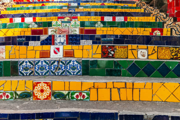 Steps of the Selaron staircase with motifs and messages made with tiles stock photo