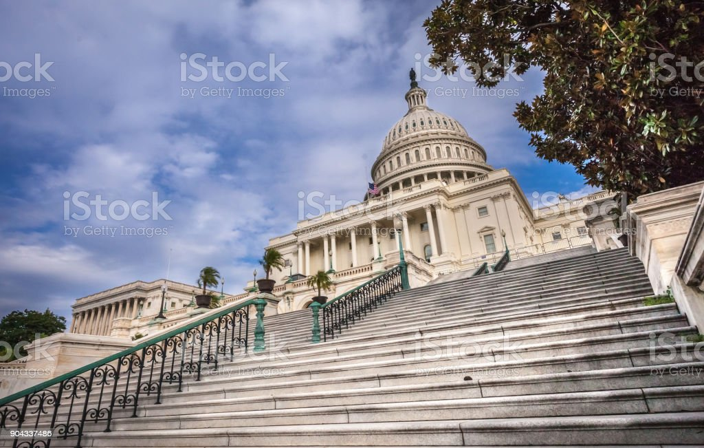 Steps of the United States Capitol West in Washington, DC stock photo