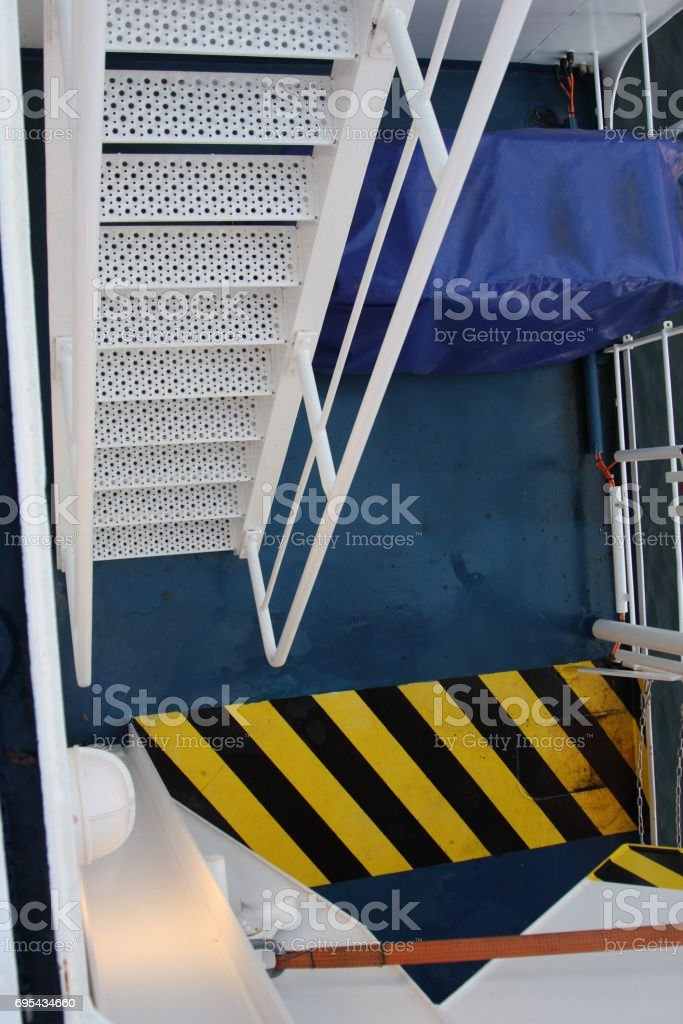 steps on boat stock photo
