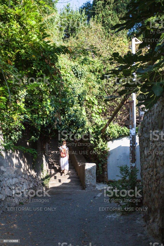 steps on lane Krapivnogo in Alushta city stock photo