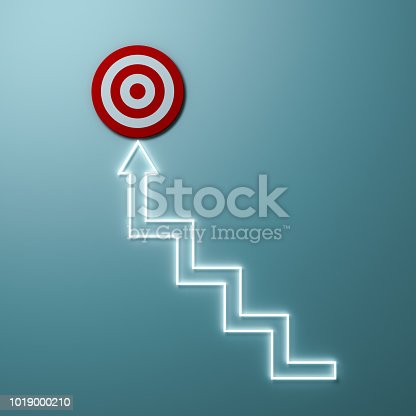 istock Steps or Light stairs arrow aiming to goal target or red dart board the business concept over light green wall background with shadow 3D rendering 1019000210