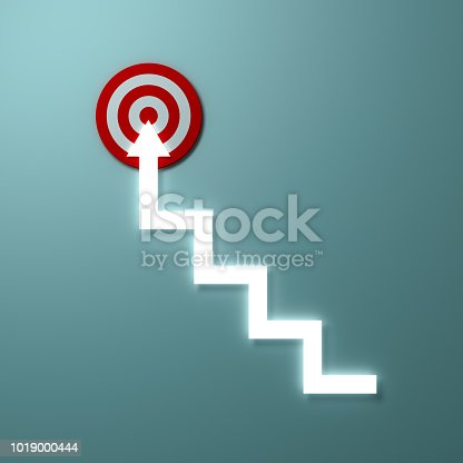 istock Steps or Light stairs arrow aiming to goal target or red dart board the business concept over light green wall background with shadow 3D rendering 1019000444