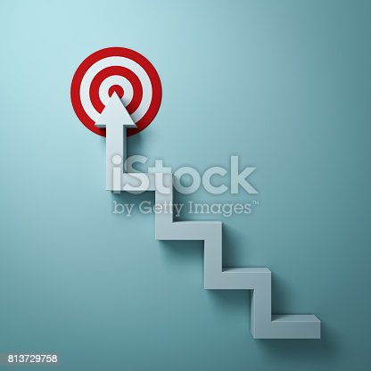 istock Steps or stairs arrow aiming to goal target or red dart board the business concept over light green wall background with shadow. 3D render 813729758