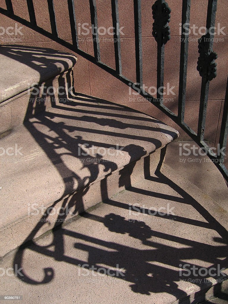 steps, railing, shadows stock photo