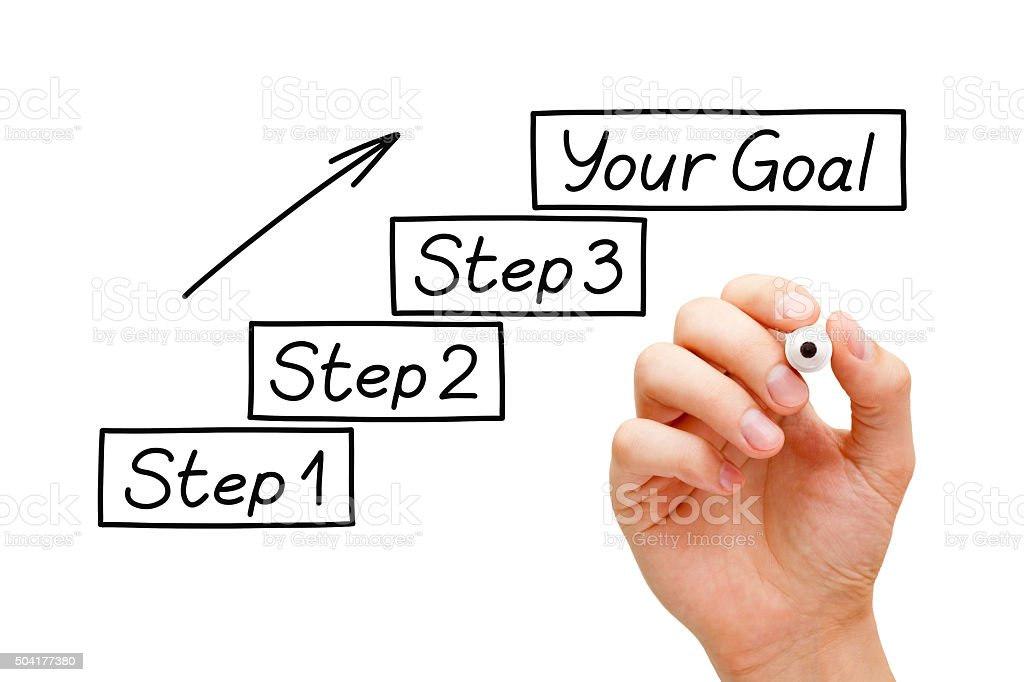 Steps to a Goal Concept stock photo