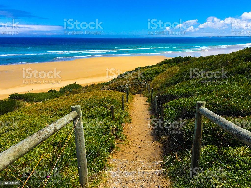 Steps to an empty beach in Australia stock photo
