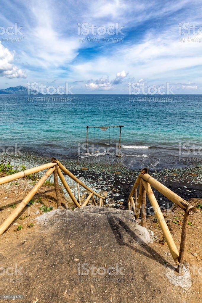 Steps to Blue Stone Beach stock photo