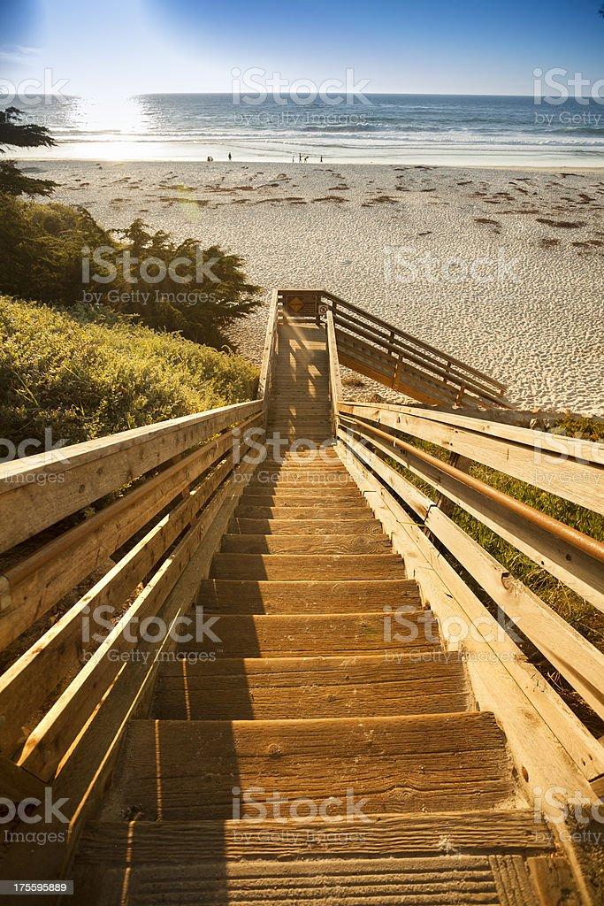 Steps to Carmel Beach in Carmel-by-the-Sea stock photo