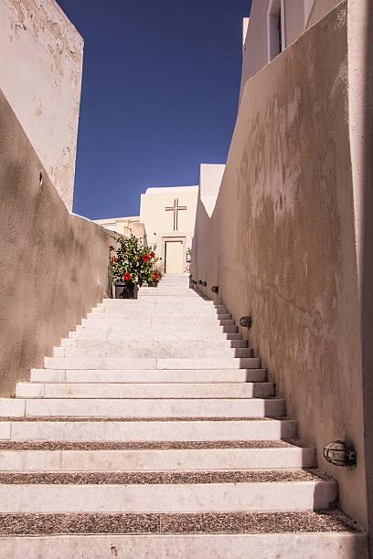 Steps to Church on Santorini stock photo