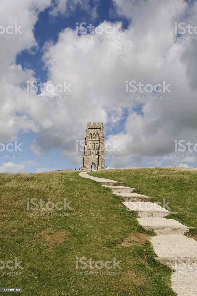 Steps to Glastonbury Tor stock photo