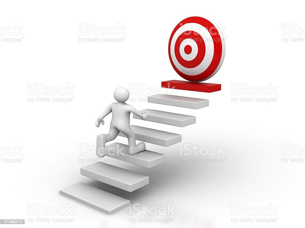 steps to goal target stock photo