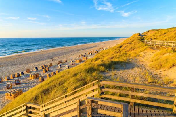 schritte zum idyllischen nordseestrand bei sonnenuntergang, insel sylt, deutschland - nordsee urlaub hotel stock-fotos und bilder