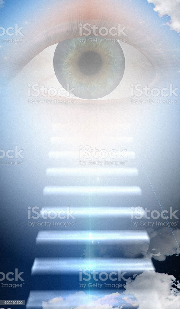 Steps to large eye stock photo