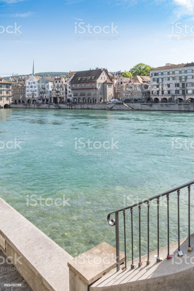 Steps to River Limmat in Zurich stock photo