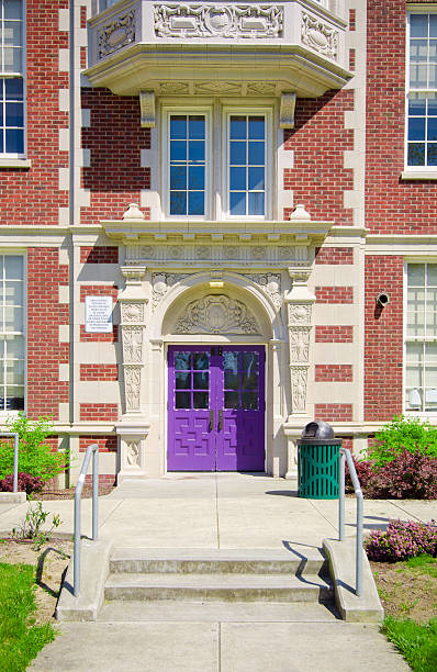 Steps to school entrance stock photo