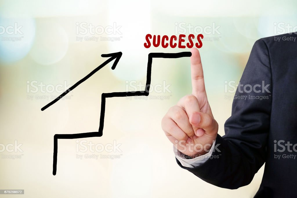 Steps to success concept and businessman hand point on blur background stock photo