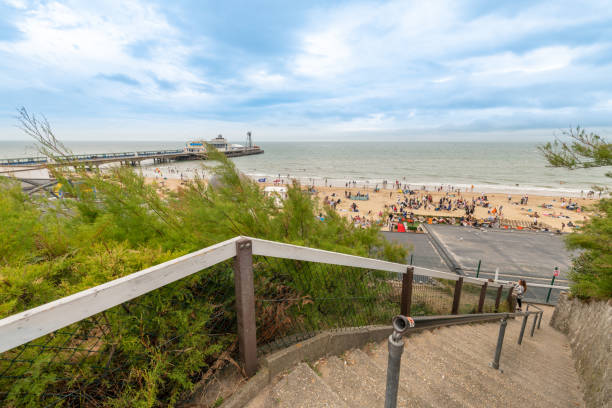 Steps to the beach in Bournemouth stock photo