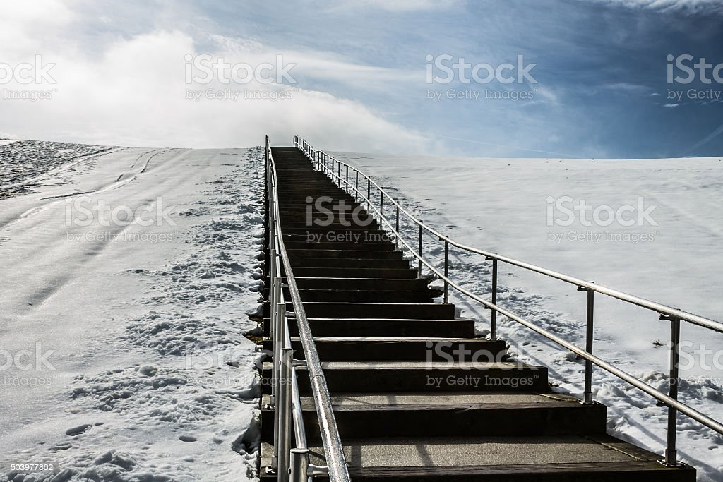 Steps to Top of Mount Trashmore with Snow stock photo