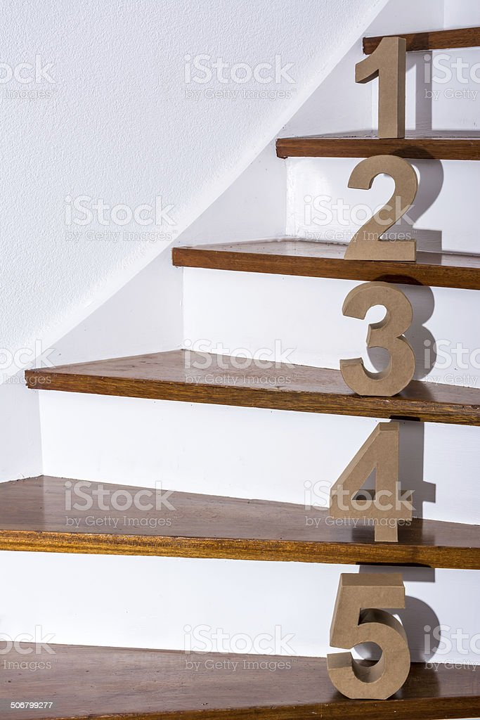 5 steps up the stairs stock photo