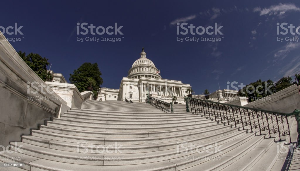 Steps up to the West Facade of the United States Capitol in Washington, DC stock photo