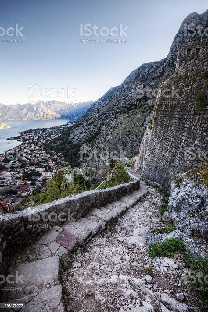 Steps Winding up to Historic Ruins Overlooking Kotor Montenegro stock photo